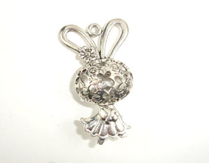 Metal Charms - Animal Bunny Pendant, Zinc Alloy, Antique Silver Tone, 2pcs-BeadBasic