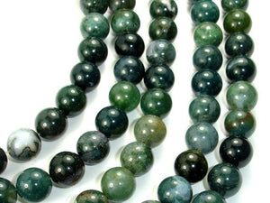 Moss Agate, Round beads, 10mm, Green Beads-BeadBasic