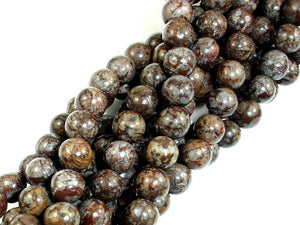 Brown Snowflake Obsidian Beads, Round, 6mm (6.5 mm)-BeadBasic