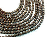 Brown Snowflake Obsidian Beads, Round, 8mm-BeadBasic