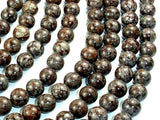 Brown Snowflake Obsidian Beads, Round, 8mm, 15.5 Inch