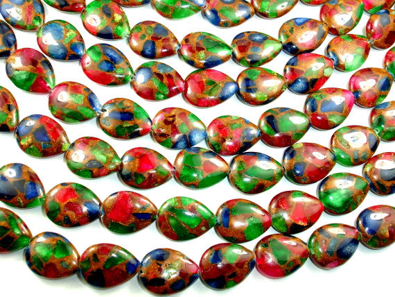Mosaic Stone Beads, Multicolor, Flat Teardrop, 15 x 20mm