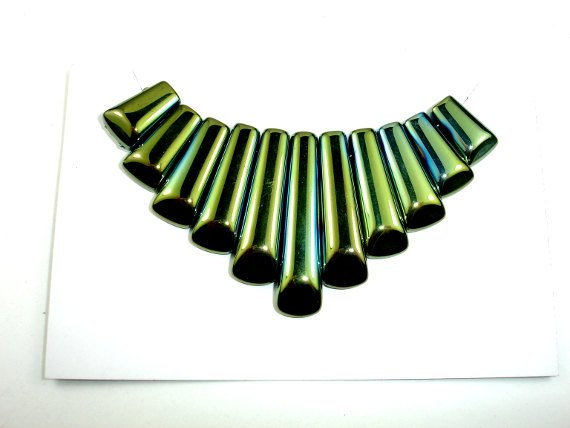 Quartz Beads, Coated Green, Top Drilled Graduated Stick-BeadBasic