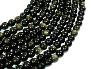 Golden Obsidian Beads, Round, 6mm, 15.5 Inch