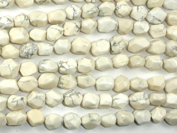 Howlite Beads, Faceted Nugget, 8 x 10 mm-BeadBasic