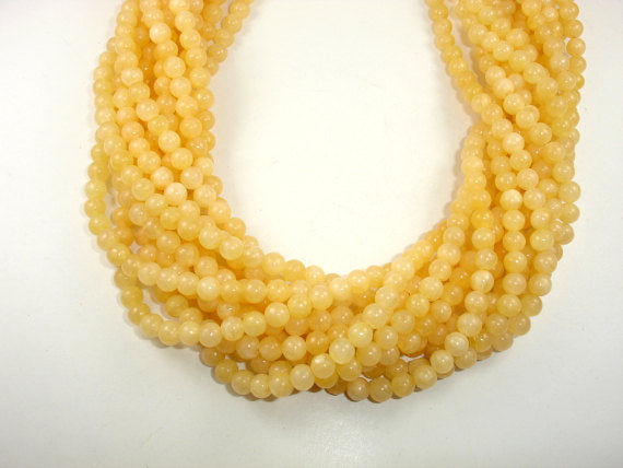 Yellow Jade Beads, Round, 6 mm, 15.5 Inch