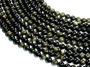 Golden Obsidian Beads, Round, 8mm (8.3mm), 15 Inch