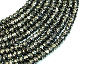 Pyrite Beads, Faceted Rondelle, 4 x 6 mm, 15.5 Inch