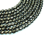 Pyrite Beads, Faceted Round, 6mm-BeadBasic