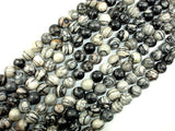 Black Line Jasper, Silk Stone, Spider Web Jasper Round, 10mm beads-BeadBasic