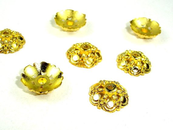 Bead Caps, Jewelry Findings, Zinc Alloy, Gold Tone, 14 mm, 30 pcs, Hole 1.2 mm (006851010)