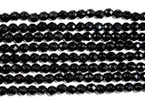 Black Onyx Beads, Faceted Round, 4mm, 15 Inch