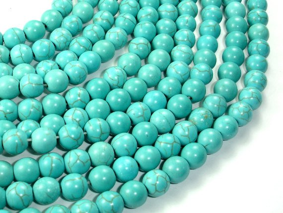 Howlite Turquoise Beads, Round, 8mm, 15.5 Inch