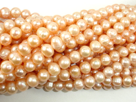 Fresh Water Pearl Beads, Peach, Potato, 8mm-9mm-BeadBasic