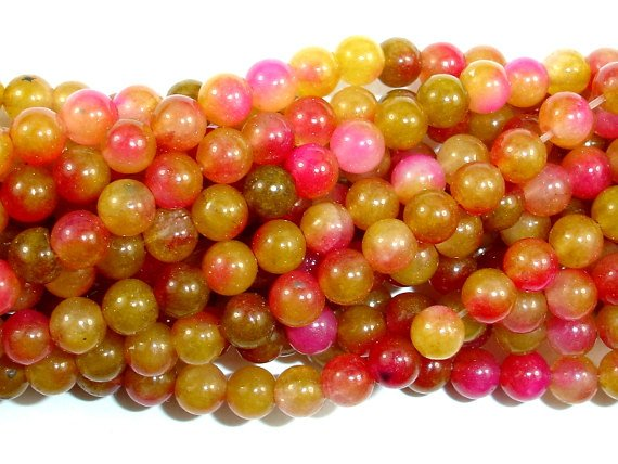Dyed Jade, Round, 4mm bead-BeadBasic