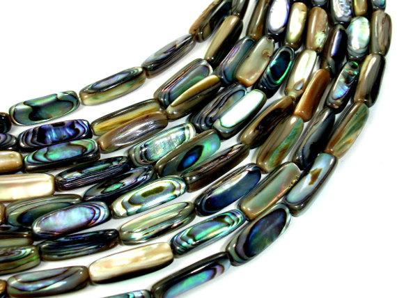 Abalone Beads, Stick, Approx 5x16mm, 16 inch-BeadBasic