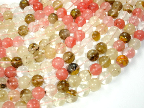 Fire Cherry Quartz Beads, Round, 10mm-BeadBasic