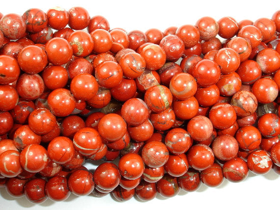 Red Jasper Beads, Round, 8mm-BeadBasic
