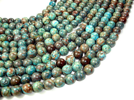 Blue Calsilica Jasper Beads, Round, 10mm-BeadBasic