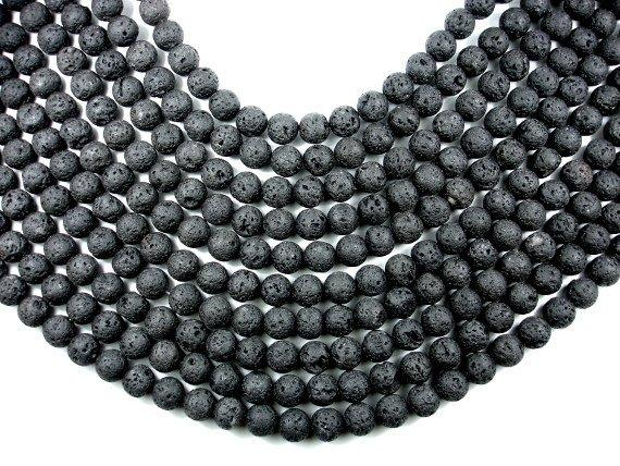 Black Lava Beads, Round, 10mm (10.3 mm)-BeadBasic