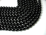 Black Tourmaline Beads, Round, 12mm (12.5mm), 16 Inch