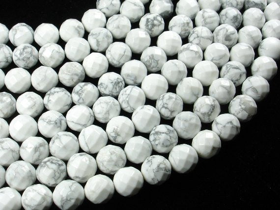 White Howlite Beads, Faceted Round, 12mm, 15 Inch