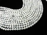 White Howlite Beads, Faceted Round, 8mm, 15.5 Inch-BeadBasic