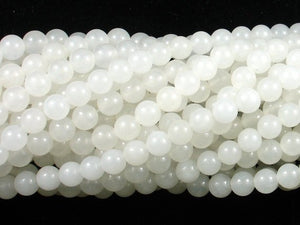 White Jade Beads, Round, 6mm (6.4mm), 15 Inch-BeadBasic