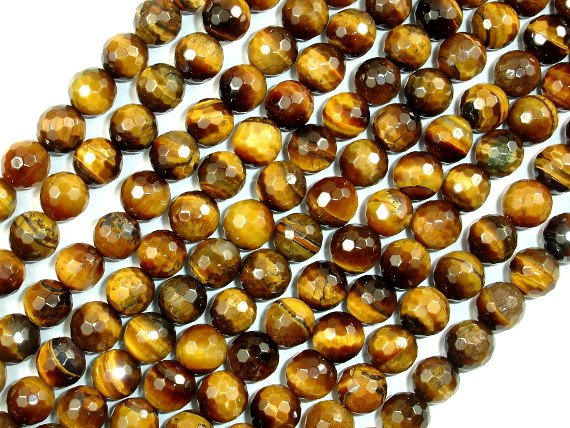 Tiger Eye Beads, Faceted Round, 8mm, 15.5 Inch