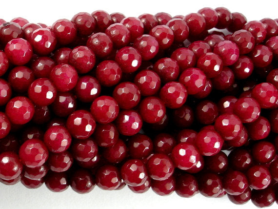 Ruby Jade Beads, Faceted Round, 6mm-BeadBasic