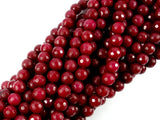 Ruby Jade Beads, Faceted Round, 6 mm, 15.5 Inch