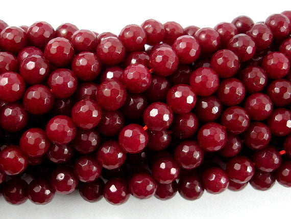 Ruby Jade Beads, Faceted Round, 8mm-BeadBasic