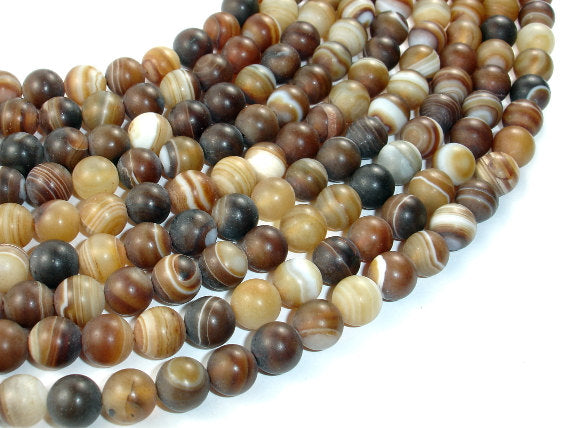 Matte Banded Agate Beads, 8mm Round Beads-BeadBasic