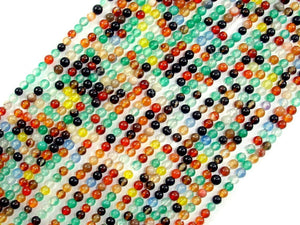 Agate Beads, Round, Multicolored, 2mm-BeadBasic