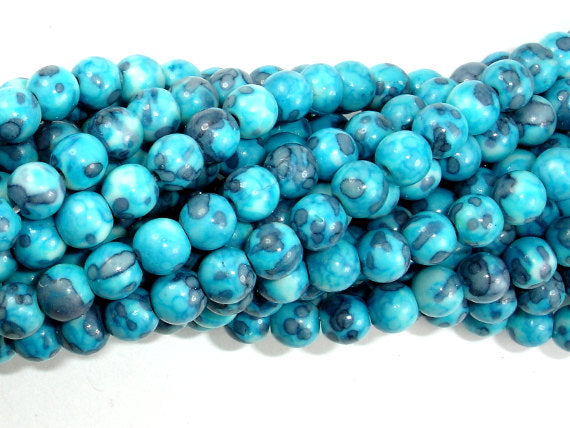 Rain Flower Stone Beads, Blue, 6mm Round Beads-BeadBasic