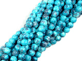 Rain Flower Stone Beads, Blue, 6mm (6.5 mm) Round Beads, 15.5 Inch