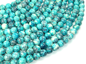 Rain Flower Stone Beads, Blue, 8mm Round Beads-BeadBasic