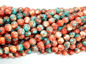 Rain Flower Stone Beads, Red, Blue, 6mm (6.5mm) Round Beads