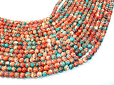 Rain Flower Stone, Red, Blue, 6mm Round Beads-BeadBasic