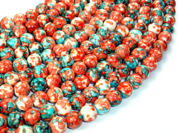 Rain Flower Stone, Red, Blue, 8mm Round Beads-BeadBasic