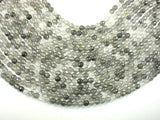 Gray Quartz Beads, 6mm (6.4 mm) Faceted Round Beads, 15 Inch, Full strand
