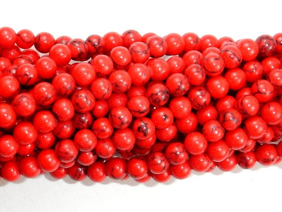 Red Howlite Beads, 4mm Round Beads-BeadBasic
