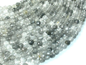 Gray Quartz Beads, 6mm Faceted Round Beads-BeadBasic