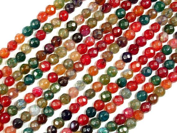 Agate Beads, Multicolor, 4mm Faceted Round,14.5 Inch-BeadBasic