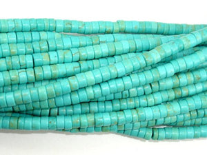 Turquoise Howlite Beads, 2x4mm Heishi Beads-BeadBasic
