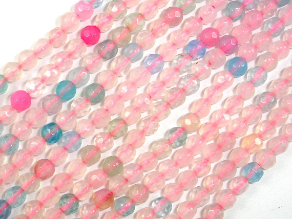 Agate Beads, 4mm Faceted Round, 14.5 Inch-BeadBasic