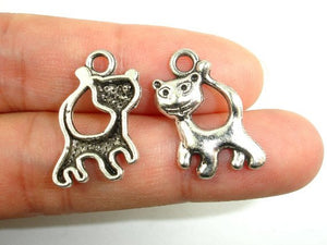 Kitty Charms, Zinc Alloy, Antique Silver Tone 15pcs-BeadBasic