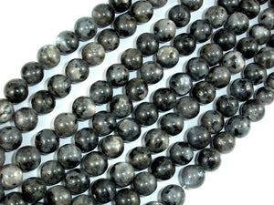 Black Labradorite Beads, Larvikite, 8mm(8.5mm) Round Beads, 15.5 Inch