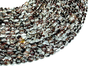 Black/ Clear/ Gold Glass Beads, 6mm, Round Beads-BeadBasic