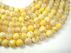 Yellow Agate Beads, 12mm (11.5 mm) Faceted Round, 14.5 Inch-BeadBasic